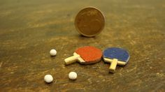 miniature table tennis bats and balls, 1.12 scale by bagusitaly on Etsy