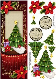 Large DL Christmas Tree Cupcake on Craftsuprint designed by Anne Lever - This lovely large dl sized topper features a fabulous christmas cupcake with an icing christmas tree. It has decoupage and two circular greetings. The greetings are merry christmas with love to someone special and merry christmas and a happy new year.  - Now available for download!