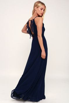 97ee7c1cad Hold the Lulus You ve Got the Love Navy Blue Backless Maxi Dress close to
