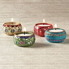 Festival of Lights Mirrored Votives Diwali Decoration Items, Thali Decoration Ideas, Diwali Diya, Diwali Craft, Chandeliers, Indian Inspired Decor, Candle Arrangements, Apartment Balcony Decorating, Candle Craft