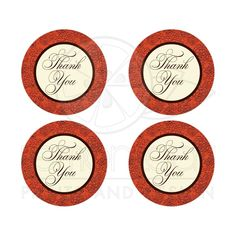 Great orange, brown, and cream colored floral thank you sticker