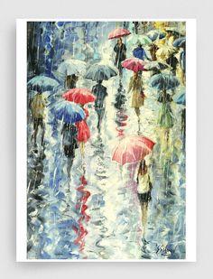 Yağlıboya MANZARA Resim Giclee Baskı Baskı Tuval Sanat Baskı ORİJİNAL Şemsiye Boyama Boyama Yağmur Cityscape Resim
