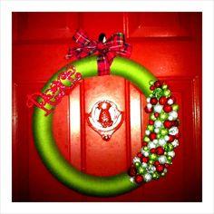 My DIY Christmas wreath! - See more beautiful DIY Chrsitmas Wreath ideas at DIYChristmasDecorations.net!