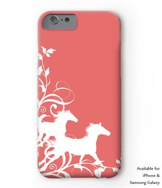Pretty galloping horse equestrian phone case for iphone or samsung galaxy style phones. Comes in coral and white, navy blue and pink, or teal and black colors. Perfect for any horse lover! hunter jumper, dressage, barrel racing and more.