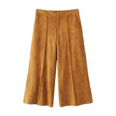 Gaucho Faux Suede Pants Dark Khaki ($35) ❤ liked on Polyvore featuring pants, capris, brown pants, brown gaucho pants, faux suede pants, brown trousers and dark khaki pants