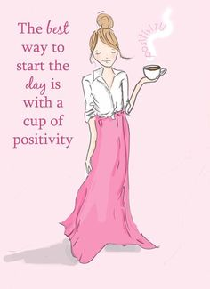 Cup Of Positivity Card for Friends by RoseHillDesignStudio