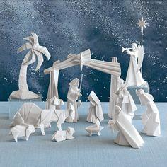 Beautiful Origami Nativity Set with Creche