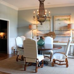 Wall color Benjamin Moore Sea Haze - love the color, think the chandelier is fun, too!