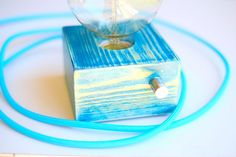 Turquoise Blue Vintage handmade wooden design table lamp with Edison bulb and…