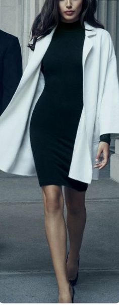 Black Mock Neck Dress with Cream Coat