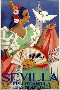 Travel Poster Sevilla Feria de Abril by Maireles 1952 Travel Wall Decor Art Print Flamenco Poster Sevilla Print Wall Art Digitally Edited. Travel Wall Decor, A4 Poster, Life Poster, Poster Wall, Poster Prints, Tourism Poster, Wall Decor Stickers, Festival Posters, Vintage Travel Posters