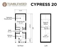 tumbleweed cypress 20 with split bathroom