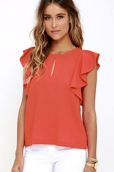 Look and feel like a million bucks when you style the Feeling Flirtatious Coral Red Top! Textured woven fabric sweeps across a bateau neckline (with front keyhole) to fluttering ruffled sleeves, and a relaxed bodice. Back keyhole has a silver top button. Cheap Womens Tops, Womens Trendy Tops, Dressy Tops, Blouse Styles, Blouse Designs, Junior Outfits, Trendy Outfits, White Peplum Tops, Moda Chic