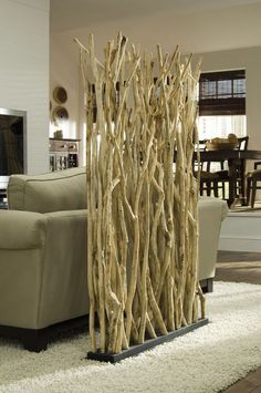 DIY Room Divider Phillips Collection Stick Screen Non Bucket List of unorganized day .Biombo com ramos. Phillips Collection Stick Screen - a good way to separate space in a small city apartment or studioThinking a screen like this or old shutters to Tree Interior, Interior Design, Room Interior, Diy Room Divider, Room Dividers, Divider Ideas, Divider Design, Bamboo Room Divider, Separating Rooms