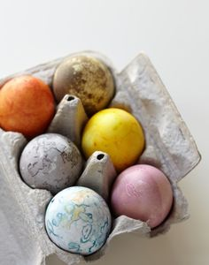 Natural Dyes for the Perfect Easter Eggs; from top left, clockwise: yellow onion skin, green spinach, turmeric & saffron, beet, red cabbage, blueberry