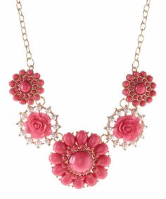 Look at this Valshi Hot Pink Floral Rhinestone Statement Necklace on #zulily today!