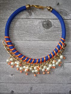 Peach Statement Rope Necklace