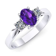 Inel de logodna din aur alb, cu ametist oval si doua diamante Heart Ring, Sapphire, Rings, Jewelry, Fashion, Jewellery Making, Moda, Jewerly, Jewelery
