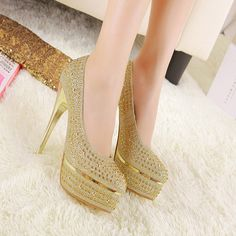 Shining Waterproof High Thin Heel Sexy Women Lady Single Shoes