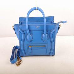 Celine Luggage Nano Boston Tote Bags Original Leather Blue
