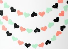 Coral Mint Black Paper Heart Garland  Bright by SweetPaperLove, $12.00