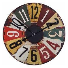 Vintage License Plates Clock