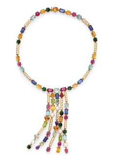 A MULTI-GEM NECKLACE, BY BULGARI Suspending a five-row fringe set with vari-cut amethyst, tourmaline, citrine, topaz, iolite, rhodolite, and cultured pearls, spaced by bezel-set circular-cut diamond bar links, to the band of similar design, mounted in 18k gold, 14¼ ins., in a Bulgari black leather fitted case. Signed Bulgari $33,600
