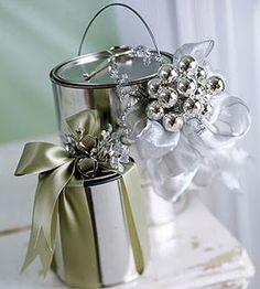 Shiny paint cans make a beautiful gift wrap idea