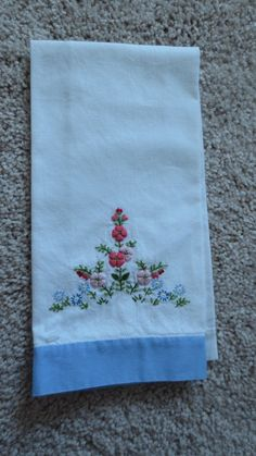 Lovely new never used hand embroidered linen towel.