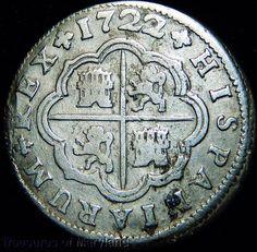 """1722 Philip V Spanish Silver """"CROSS 2 REALES"""" Pistareen! sku #FG11"""