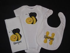 Personalized Baby Girl or Boy Gift Set Onesie, Burp Cloth, Bib Bumble Bee