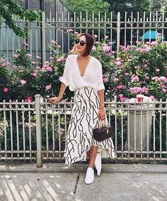 patterned skirt + white blouse