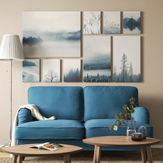 GRÖNBY Picture, set of blue landscape. The included collage template and coordinated motifs make it easy to create your own personal wall collage. You can split the wall collage template into smaller collages and display your art in different ways.