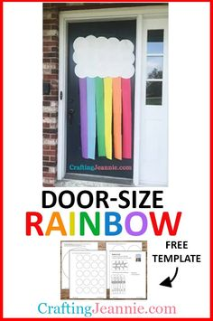 This Door sized Rainbow is so fun and easy. Make it in less than 10 minutes. It's perfect for a classroom door or a birthday party decorations. You can make it for Spring, Summer or even St. Patrick's Day! Download the free easy rainbow printable template and make it with preschool, prek, daycare, kindergarten, or for a birthday. #CraftingJeannie #rainbowcraft #stpatricksdaycraft #preschoolcraft #springcraft #summercraft #doordecoration #doorrainbow #rainbow #rainbowbirthday Classroom Crafts, Classroom Door, Preschool Activities, Family Activities, Spring Crafts For Kids, Summer Crafts, Rainbow Crafts, Rainbow Art, Boy Scout Crafts