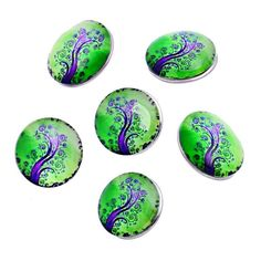 ZARABE Snap Button Fit DIY Bracelets Purple Life Tree Pattern Green 18mm-1PC -- Details can be found by clicking on the image.