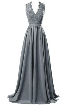 R&J Women's V-neck Open Back Lace Chiffon Floor Length Formal Evening Party Dress Steel Grey Size 8