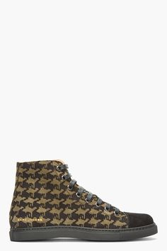 MARC JACOBS Black Brushed Suede Houndstooth Sneakers