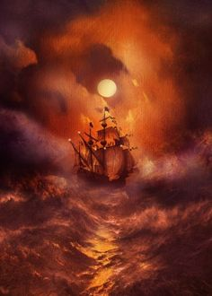 ocean boat sunset dark textures clouds fineart illustration Illustration