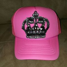 Crown jewel trucker hat New, never worn (see inside has no stains 3rd pic) no missing beads/rhinestones, snap back adjustable size Accessories Hats