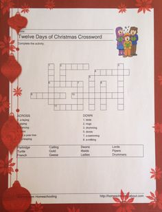 12 Days of Christmas Crossword Xmas Games, Holiday Games, Christmas Games, 12 Days Of Christmas, Christmas Activities, Christmas Printables, Christmas Traditions, Family Christmas, Holiday Fun