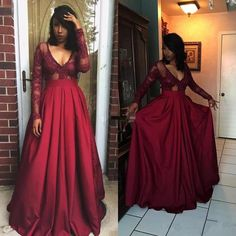 6f6bd1f8b57 Chic Plus Size Prom Dresses V-neck Satin Burgundy Long Sleeve Prom Dress  JKP005 Plus