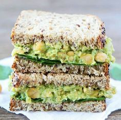 Smashed Chickpea, Avocado, and Pesto Salad Sandwich Recipe I love making this healthy sandwich for lunch. It only takes minutes to make and is SO good! Lunch Recipes, Whole Food Recipes, Vegetarian Recipes, Cooking Recipes, Healthy Recipes, Chickpea Recipes, Dinner Recipes, Pesto Salad, Sandwich Recipes