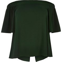 RI Plus green bardot top - bardot / cold shoulder tops - tops - women
