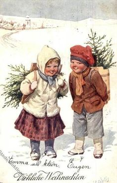 K Feiertag~Smiling Children With Christmas Greenery~Boy With Tree~BKWI - Illustrators & Photographers Christmas Card Pictures, Christmas Card Crafts, Vintage Christmas Images, Merry Christmas Card, Old Christmas, Victorian Christmas, Retro Christmas, Christmas Greenery, Illustration Noel