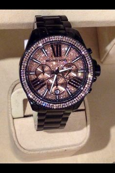 black sparkly michael kors watch - I WANT THIS                                                                                                                                                     More