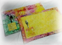 Tye dye reversible place mats with silverware pockets by SwtMaggisSewnSews on Etsy
