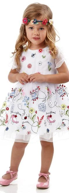 ON SALE !!! Love this SIMONETTA MINI Girls Floral Embroidered Tulle Flower Girl Dress. Makes the Perfect Dress for a Wedding or any Special Occasion. Adorable Dress fit for a Princess with layers of soft tulle billow like clouds. Love the pretty embroidered flowers, birds and butterflies on a top layer of organza. #kidsfashion #flowergirl #wedding #flower #dress #pretty #sale