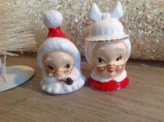 Vintage RARE Lefton Japan Mr and Mrs Claus Christmas Salt and Pepper Shakers