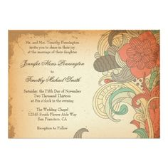 Vintage red brown floral swirls wedding invitation