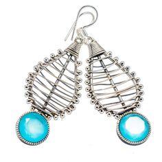 "Faceted Apatite 925 Sterling Silver Earrings 2 1/4"" EARR334392"